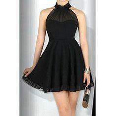 Halter hérissé de couleur pleine de robe de Yiya femmes – USD $ 13.99