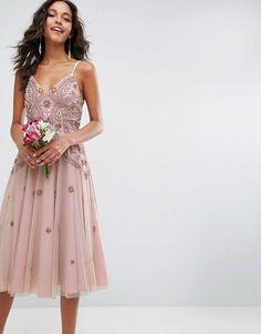 93436996411e ASOS WEDDING Iridescent Delicate Beaded Strappy Midi Dress - Pink Femininer  Stil