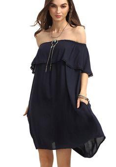 Women's Off Shoulder Ruffles Plain Shift Loose Dress