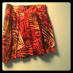 High waisted pleated skirt Orange, red, yellow, black high waisted pleated skirt. Super cute on! Gently used, no damage. Apt. 9 Skirts Circle & Skater