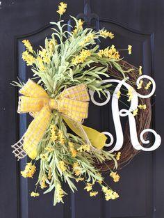 Spring Monogrammed Wreath by OurSentiments on Etsy