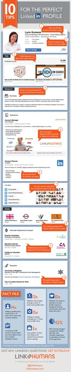 #LinkedIn #Infographic: 10 Tips for the Perfect LinkedIn Profile by LinkedIn via slideshare
