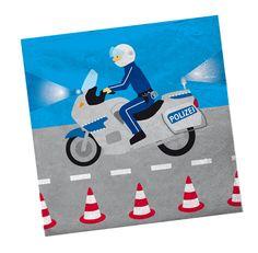 Die Servietten mit dem Polizei Motorrad sind die perfekte Dekoration auf einer Polizeiparty Die Servietten Polizei gibt es bei www.party-princess.de