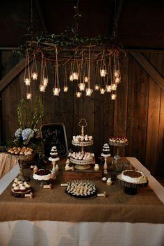 Barn wedding dessert table.