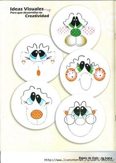 Cute faces for punch art characters Pintura Tole, Snowman Faces, Snowmen, Arts And Crafts, Paper Crafts, Country Paintings, Cartoon Faces, Punch Art, Copics