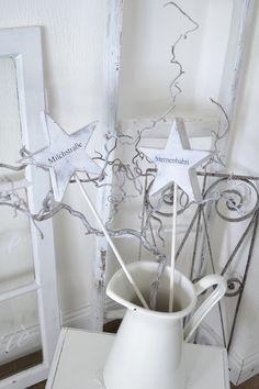 Weihnachtsdeko - Shabby zwei Sterne am Stab - ein Designerstück von himmelweiss bei DaWanda