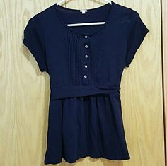 J. Crew Dark Blue Button Top Blouse The color is almost black depending on the lighting. 100% cotton J. Crew Tops Blouses