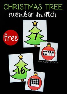 Colorful Christmas Tree Number Match!  A fun way for kids to work on matching numbers and counting this holiday season. Great for math centers, math review or take home math activities! #holidaymathcenters #mathfreebies #PlaydoughToPlato