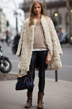 Anna Selezneva In An Amazing Shearling and Leather Paneled Sandro Coat