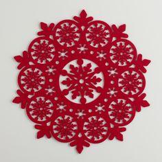 Red Felt Snowflake Placemats, Set of 4   World Market