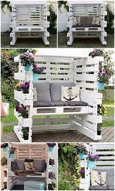 Wood Pallet Enclosed Seating Area with Comfy Cushions – Garden Furniture – Garden Projects Diy Garden Furniture, Diy Pallet Furniture, Diy Pallet Projects, Rustic Furniture, Furniture Ideas, Antique Furniture, Backyard Pallet Ideas, Wood Projects, Furniture Stores