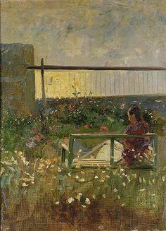 Laurits Tuxen - Nina Tuxen in the garden of the artist's house at Skagen