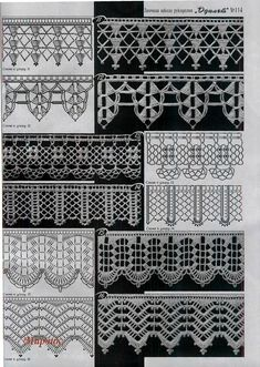 Easiest Crochet Frills Border Ever! Crochet Border Patterns, Crochet Lace Edging, Crochet Lace Dress, Crochet Diagram, Crochet Chart, Lace Patterns, Stitch Patterns, Crochet Edgings, Crocheted Lace
