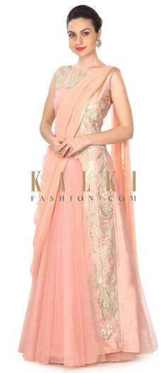 Buy this Mud pink lehenga adorn in zari and appliqué border only on Kalki