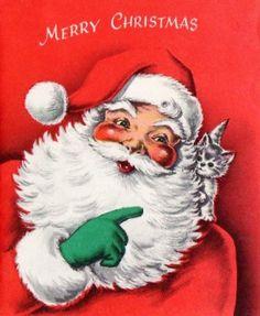 Santa Kitten Christmas Card