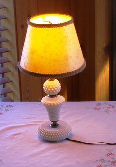 Hobnail Milkglass Bedroom Lamp Vintage 1930 by ChevyLovesLaura, $20.00