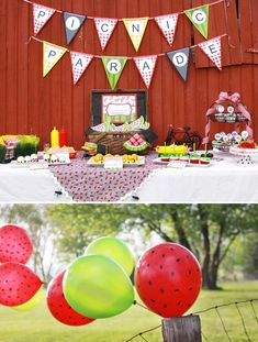 very cool idea using sharpies on red ballons and pairing them with green balloons for a watermelon theme party.