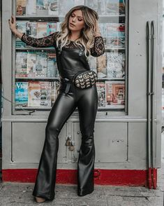 Buy me a ticket Leather Catsuit, Leather Jumpsuit, Leather Leggings, Leather Dresses, Leather Outfits, Rocker Chic, Costume Design, Autumn Winter Fashion, Ideias Fashion
