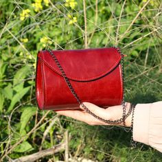 Red leather bag small purse little leather handbag by Dalfia