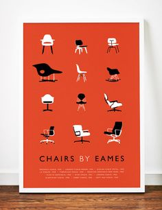 Eames poster art print Mid Century Modern Chair illustration Retro.