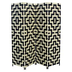 "Ore International 4 Panel Paper Straw Weave Screen On 2"" Legs"
