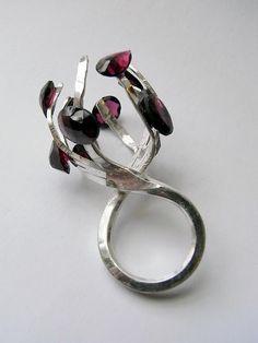 Kelvin J. Birk  /  Claw ring, Silver & Garnets