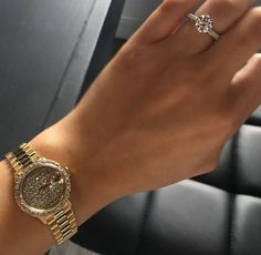 Presidential Rolex with a diamond dial made in yellow gold. A timeless ladies watch to treasure forever. Photo by: Bracelet Clasps, Link Bracelets, Rolex Presidential, Verragio Engagement Rings, Rolex Explorer, Gold Statement Earrings, Thing 1, Luxury Watches For Men, Audemars Piguet