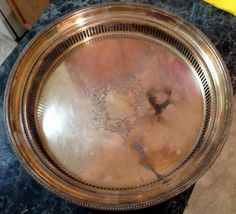 """Vintage Silverplate 14"""" Round 2 1/2"""" Deep Serving Tray Platter #SilverPlatter #VintageSilver #Fancy #Royals"""