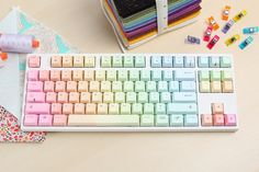 Bringing Enthusiasts Together Keycool Rainbow Keyboard - Massdrop Study Room Decor, Cute Room Decor, Pastel Room Decor, Keyboard Stickers, Macbook Keyboard Decal, Keyboard Keys, Computer Keyboard, Gaming Room Setup, Kawaii Room
