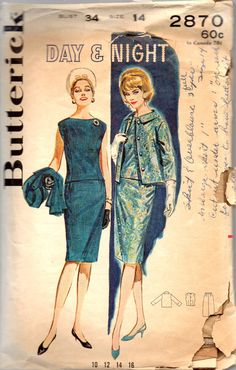Butterick 2870 1960s  Misses Princess Seam OVERBLOUSE Slim SKIRT Boxy JACKET PATTERN womens vintage sewing pattern by mbchills