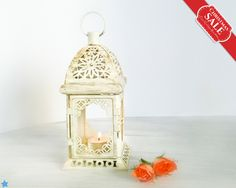 Unique Rustic Wedding Lantern, Exotic Morocco Lantern, Moroccan Arabic Decor, White Gold Metal Candle Holder Gift for Her