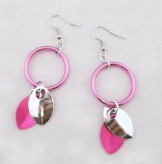 Pink & Bright Aluminum Scale earrings by PamBdesigns on Etsy