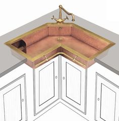 The shape of this sink would be perfect for our kitchen. Corner sink is kindof awkward.