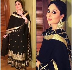 Kareena Kapoor # sukriti and Akriti # sharara love # black beauty # fusion wear #