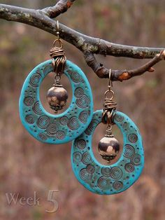 Tree Wings Studio: Raindrops in the Woods ~ 52 Earrings: week 5 Polymer Clay Projects, Polymer Clay Creations, Polymer Clay Earrings, Jewelry Crafts, Jewelry Art, Handmade Jewelry, Jewellery, Ceramic Jewelry, Ceramic Beads