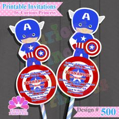 Captain America Invitations Party Ideas from Avengers invitations by Curious Princess $15.00 unique cutout shaped PRINTABLE or printed invitations invites and birthday, can be used to decorate centerpieces as party supplies in the candy buffet lollies table and more only at www.InstaParties.com