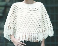 Instant Download - PDF- Lovely Worsted Weight Crochet Poncho Pattern (This Pattern is written in U.S Terms) (US4)