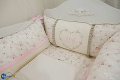 kit berço floral menina, kit berço rosa e bege, tutti bebê