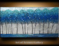 48 x 24 grande Sculpture originale en Texture moderne Aqua Blue Tree argent métallique de peinture abstraite peinture par Je Hlobik au couteau