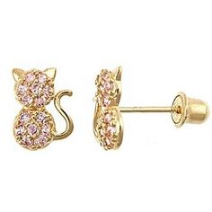 1feccb69a 14K Gold Pink CZ Cat Earrings for Kids with Screw Backs from The Jewelry  Vine Girls