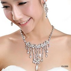 Buy the Favebridal Fashion Crystal Necklace Earrings Jewelry Sets for Wedding Bridal Party 15089 securely online at mariescrystals.com today.