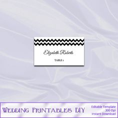 Black and White Wedding Place Cards by WeddingPrintablesDiy, $8.00