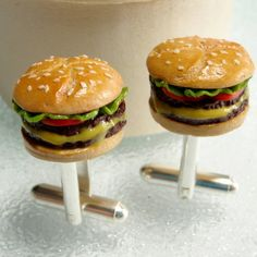 handmade burger with melted cheese cufflinks by all things brighton beautiful | notonthehighstreet.com