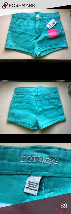 NWT Charlotte Russe High Rise Shortie NWT Charlotte Russe High Rise Shortie- Refuge shorts in teal. Never Worn/Smoke Free home/ Pet Friendly Home. Charlotte Russe Shorts Jean Shorts
