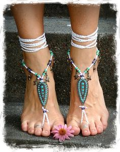 Indie BAREFOOT Sandals STARFISH Brass Toe Anklets Seascape crochet Gypsy Sandals sole less shoes Wanderlust jewelry WHITE Barefoot Wedding via Etsy
