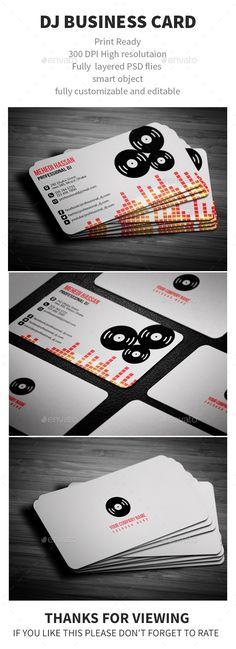DJ Business Card - Business Cards Print Templates Download here : http://graphicriver.net/item/dj-business-card/12249969?s_rank=1702&ref=Al-fatih