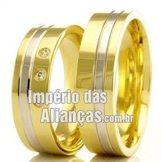 Alianças baratas de casamento Largura 4.5mm Pedras 3 diamantes de 1 ponto Acabamento Liso Formato Anatômico Peso 9 gramas O PAR