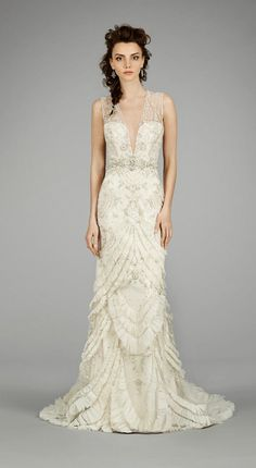 Embroidered art deco wedding dress with chandelier front for How much is a lazaro wedding dress