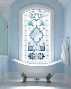 stained glass window in the bathroom. I love the blue colour for the glass! stained glass window in the bathroom. I love the blue colour for the glass! stained glass window in the bathroom. I love the blue colour for the glass! Bad Inspiration, Bathroom Inspiration, Bathroom Ideas, Design Bathroom, Bathroom Colors, Blue Bathrooms, Bathroom Interior, Luxury Bathrooms, Dream Bathrooms
