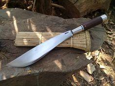 Www.oldblockblades.etsy.com     Thai Enep Machete, Bushcraft Machete, Quality Machete, Engraved Knives, Bushcraft Gear, Rattan Sheath Hand Forged Machete, Hand Forged Knife